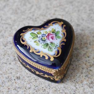 Vintage Limoges Cobalt Blue Heart Trinket Box